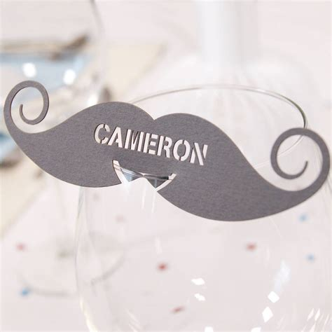 wine place card template personalised moustache wine glass name place card by