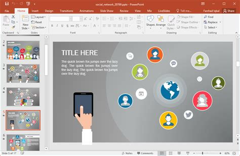 powerpoint theme network free animated social network powerpoint template