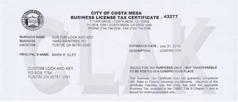 Garden Grove Business License Custom Lock And Key Business Licenses