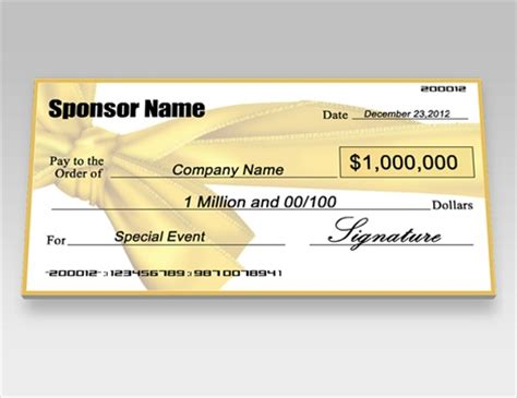 Donation Checks Charity Checks Signazon Oversized Check Template Free
