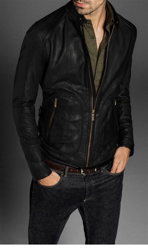 Handmade Mens Clothing - handmade mens slim fit biker leather jacket fashion