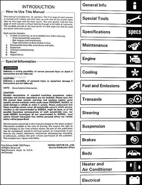 service manual service manual 1990 honda civic 1990 honda civic wagon repair shop manual