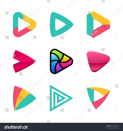 colorful logo design elements vector set set colorful play button icons arrows stock vector
