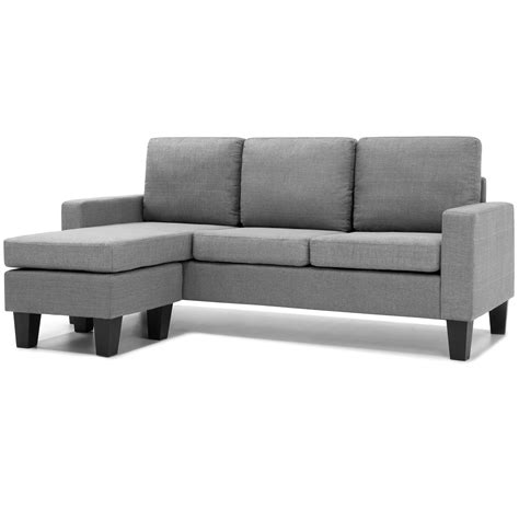 L Shaped Sectional With Chaise Home Microfiber L Shape Sectional Sofa W Reversible Chaise Ottoman Grey 816586029669 Ebay