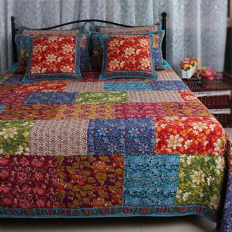 Thick Quilt Bedding Thick Vintage Winter Cotton Patchwork Blue Green Bed