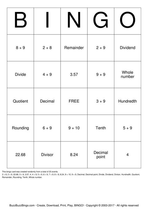 printable decimal number cards dividing decimals bingo cards to download print and