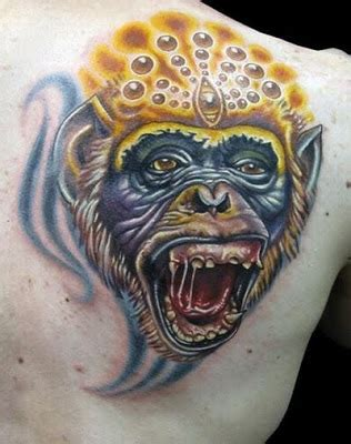 crazy monkey tattoo and beautiful monkey tattoos pics