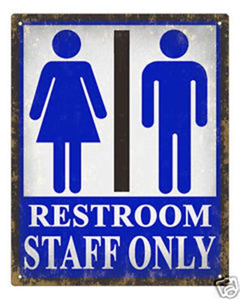 Only Bathroom Sign by Unisex Restroom Sign Retro Staff Only Bathroom Office