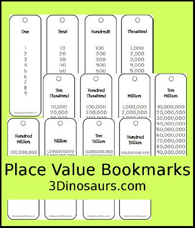 printable math bookmarks 3 dinosaurs place value bookmark printable