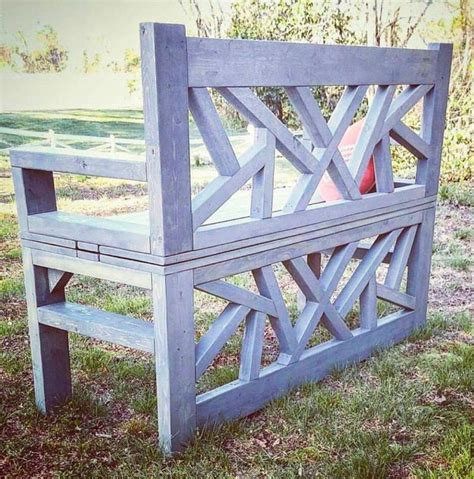 Handmade Wooden Garden Benches - handmade outdoor bench doubles as minimalist coffee table