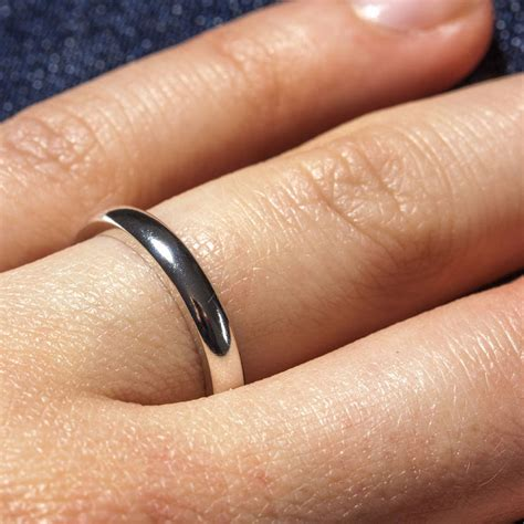 personalised sterling silver mm  shape ring
