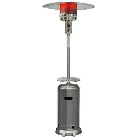 Stainless Steel Gas Patio Heater Hanover 7 Ft 41 000 Btu Stainless Steel Umbrella Propane Gas Patio Heater Han003ss The Home Depot