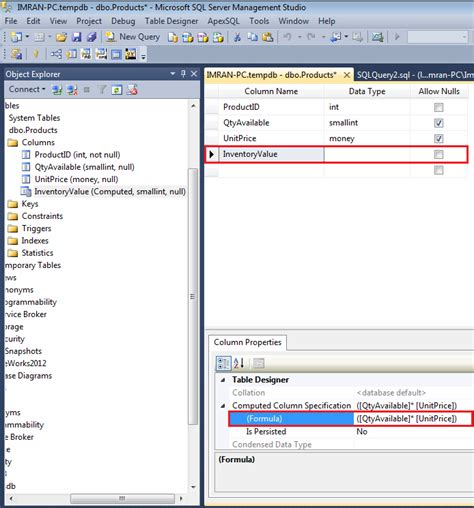 Sql Server How To Alter An Existing Computed Column In A Sql Server Alter Table Change Column Name