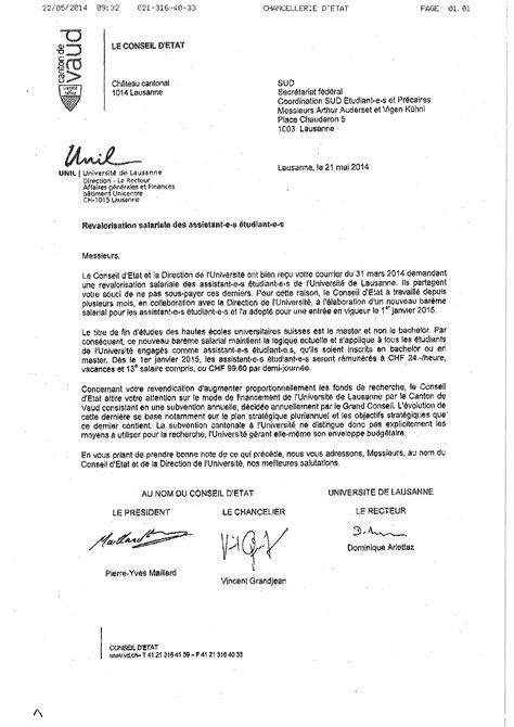 Conseil De Faculté Lettres Unil Unil Enfin Le Salaire Minimum Sud 201 Tudiant E S Et Pr 233 Caires