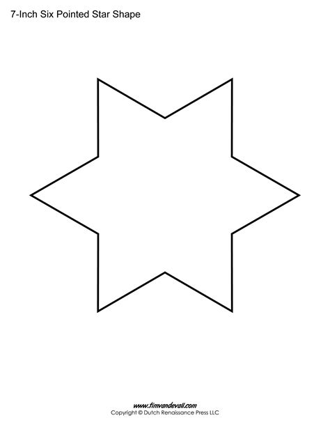 printable six pointed star templates blank shape pdf