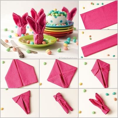 Easter Paper Napkin Folding - easter bunny napkin folding tutorial