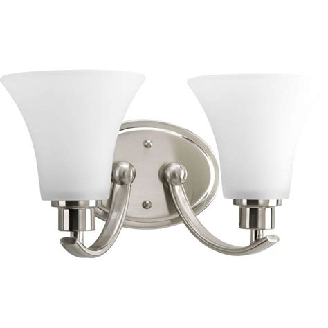 Brushed Nickel Lighting Fixtures Progress Lighting Collection 2 Light Brushed Nickel Vanity Fixture P2001 09 The Home Depot