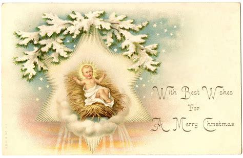 vintage christmas image beautiful jesus  manger