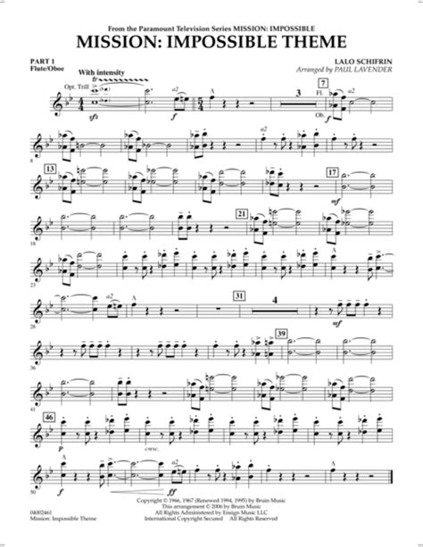 theme music of mission impossible download mission impossible theme pt 1 flute oboe