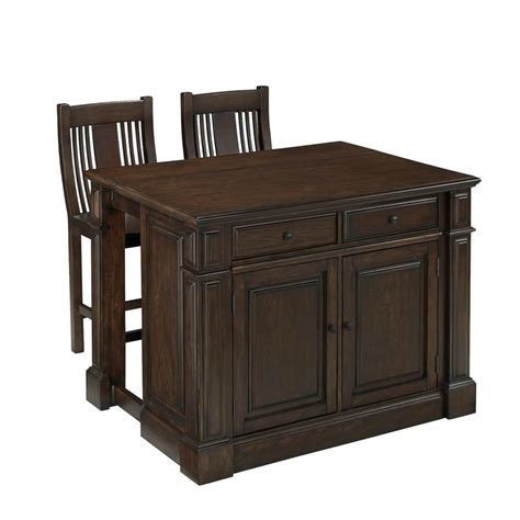 home styles prairie home kitchen island and two stools