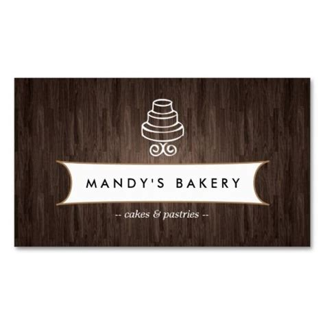 free business cards templates for baked goods vintage cake logo on woodgrain business card template for