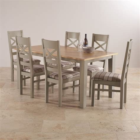 Light Oak Dining Tables And Chairs St Ives Dining Set In Grey Painted Acacia Table 6 Chairs