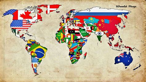 world map with countries flag maps world countries flags walldevil