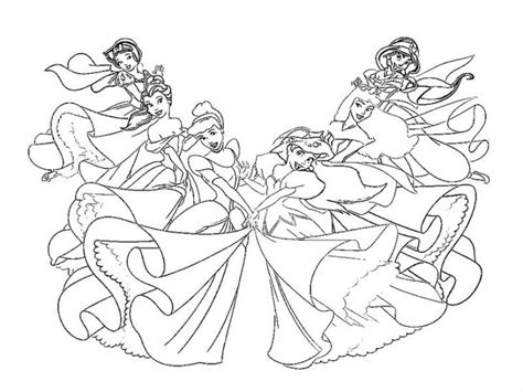 Coloring Pages Disney Princesses Together all disney princesses together coloring pages www imgkid
