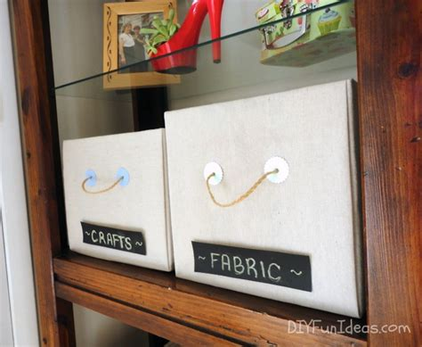 hometalk diy drop cloth fabric covered storage boxes