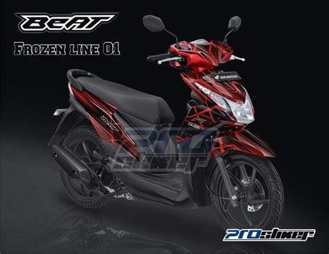 Striping Motor Honda Beat Fi Icon stiker motor honda beat fi warna merah modif striping beat fi motif frozen line merah stiker