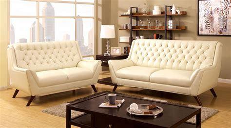 tufted sofa set 2 pcs white button tufted sofa set