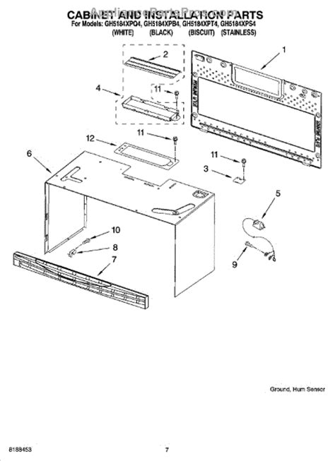 whirlpool microwave parts diagram parts for whirlpool gh5184xps4 cabinet and installation