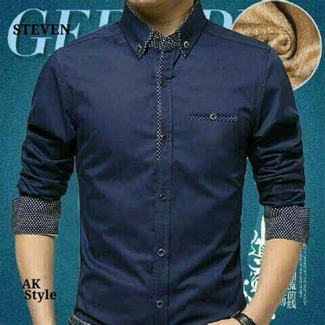 Kemeja Pria Hem Cowok Baju Lengan Panjang Bobby Putih baju kemeja pria lengan panjang modern model terbaru murah