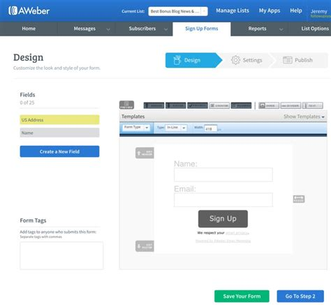 Aweber Online Affiliate Wealth Com Aweber Signup Form Templates