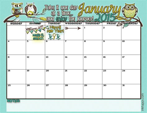 January 2015 Calendar January 2015 Calendar A New Year Inkhappi