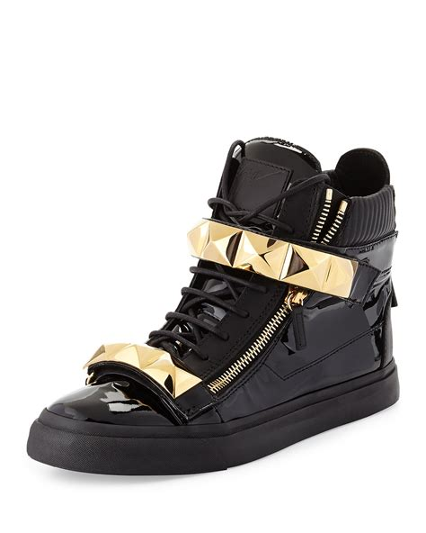 giuseppe zanotti mens sneakers giuseppe zanotti mens patent stud high top sneaker