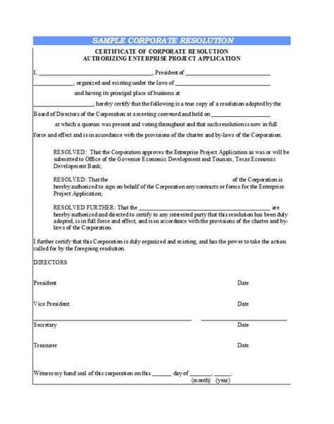 37 Printable Corporate Resolution Forms ᐅ Template Lab Corporate Resolution Template