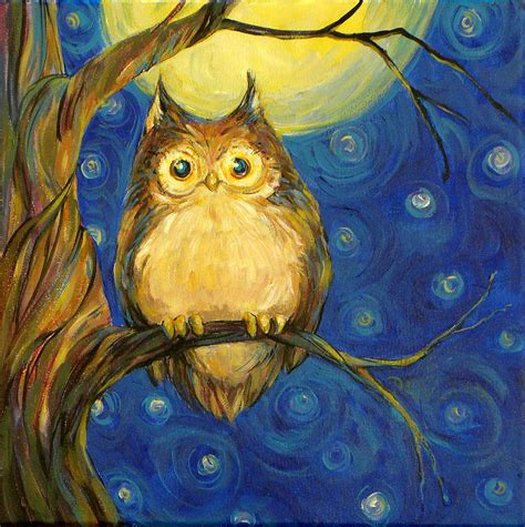 paint nite owl owl in starry painting owl in starry