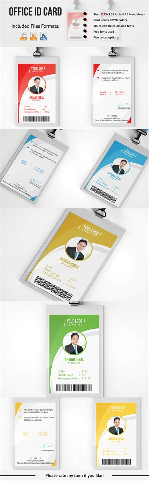 employee id card template free behance professional employee id card on behance