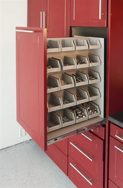 Garage Organization Nuts And Bolts Great Idea Slide Out Drawer In Garage Compartmentalized