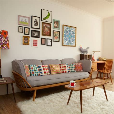 Retro Style Living Room Furniture Retro Living Room With Pretty Prints Living Room Decorating Housetohome Co Uk