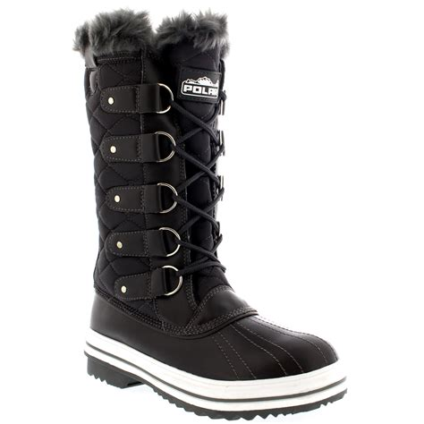 snow boots for uk womens quilted lace up fur lined warm shoes duck