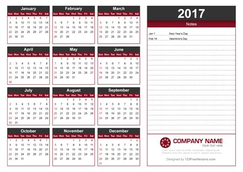 calendar template with notes 2017 calendar template with notes 123freevectors
