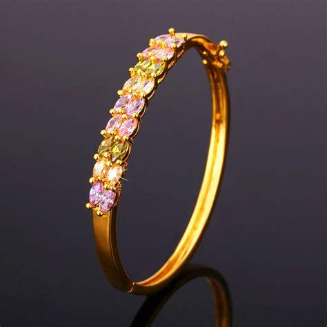Gelang Cubic Lapis Emas 18 Karat u7 kubik zirconia gelang 18 kb emas berlapis gelang emas