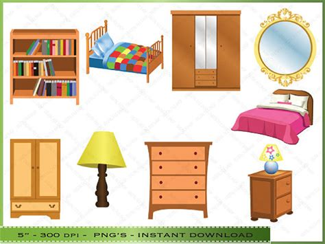 bedroom clipart items similar to furniture clipart clip art of bedroom