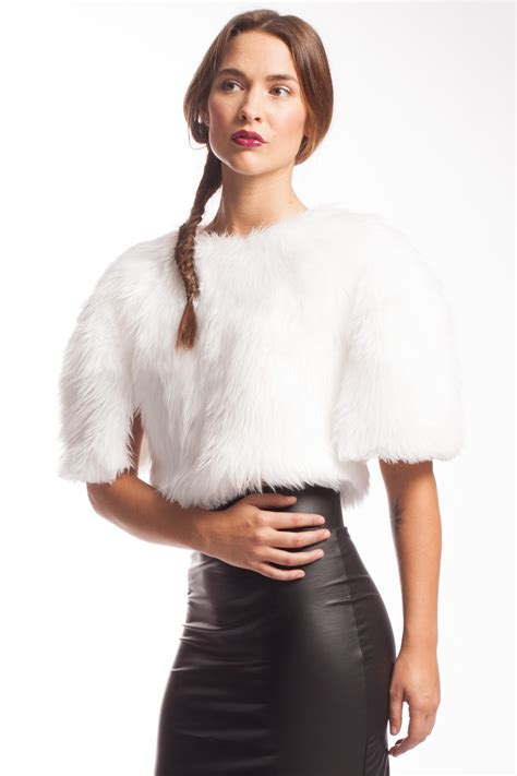 faux fur best pope crop top with faux fur from seneca spruce 90 s