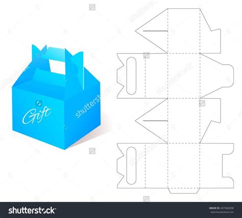 box gift blueprint box template craft box mockup retail