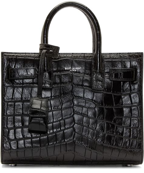 Vb Croco Bag In Bag sac de jour leather nano carryall bag black yves laurent clutch with chain
