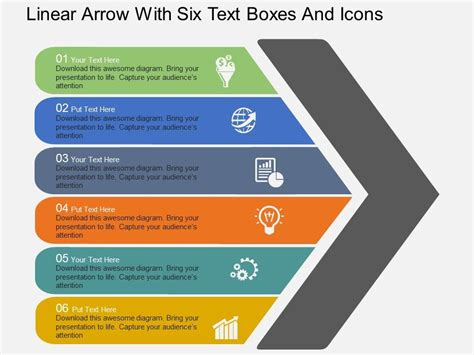 powerpoint themes not showing rj linear arrow with six text boxes and icons flat