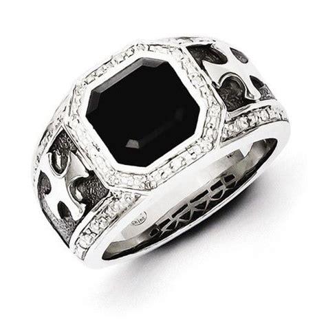 sterling silver diamond onyx black rhodium plated cross